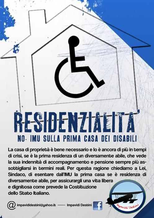 Esenzione dall'Imu per i disabili  Le famiglie scrivono ai 98 sindaci